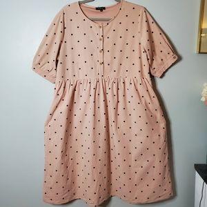 Roolee | XL | Pink Puff Sleeve Polka Dot Dress